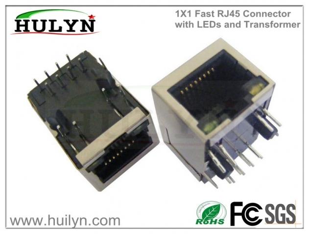 1x1带灯变压器插座,百兆rj45连接器